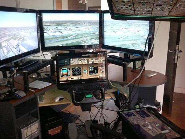 Captain Shah's personal flight simulator. Source: Facebook
