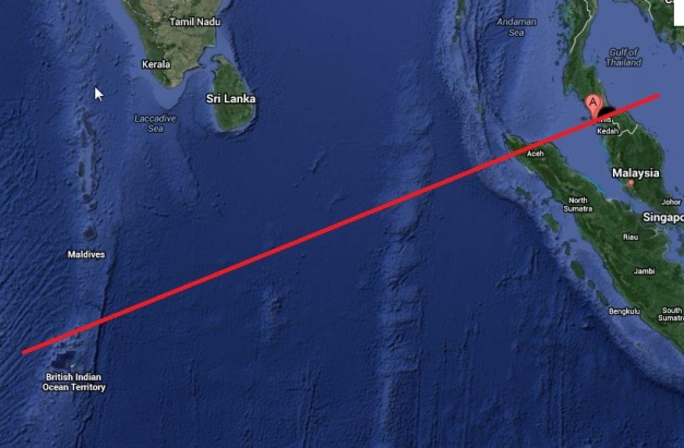 Maldives - possible track taken by MH370