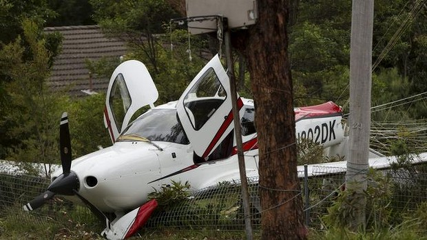 Soft landing: The site of the plane crash in Sayers Street, Lawson. Photo: James Brickwood