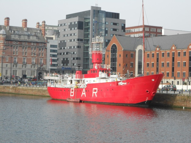 LHB Planet, a motor-lress lighthouse boat. Now a bar in Canning Dock