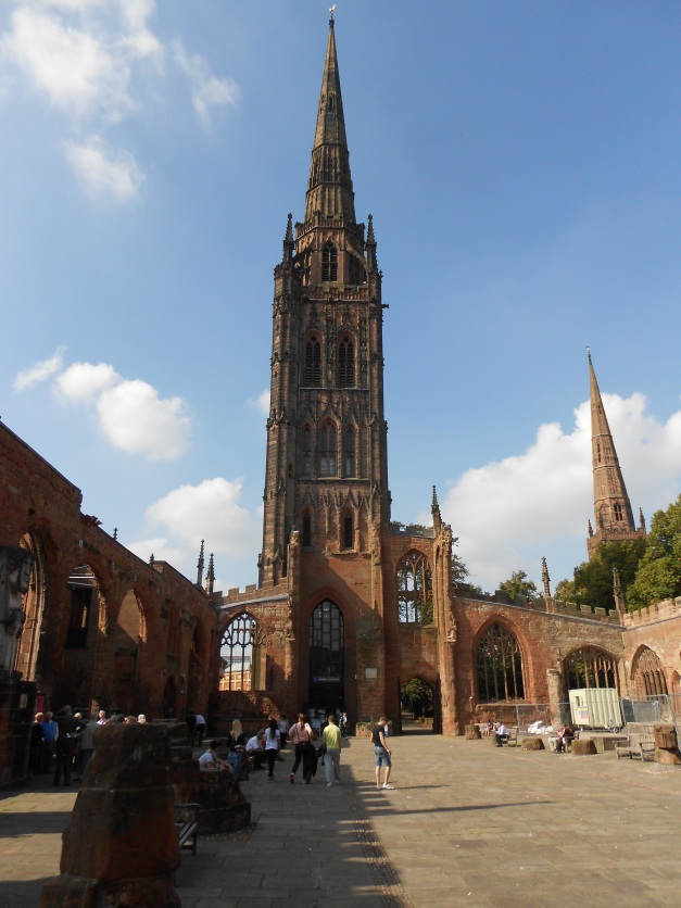 """St Michael's taken from """"inside"""" the church, showing the remaining spire."""