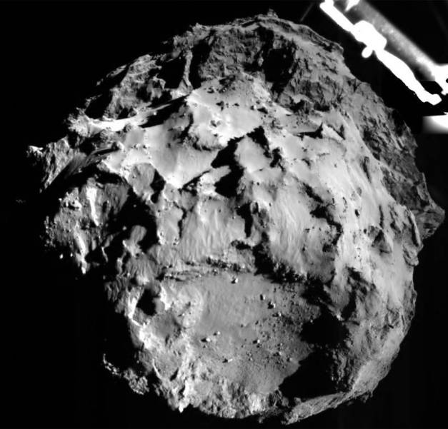 Image of Comet 67P/CG taken by the Philae lander from a distance of approximately 3km from the surface