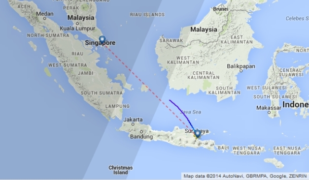 QZ8501 Flight Track; Source: FlightRadar24.com