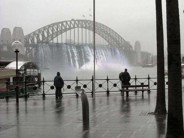 Rain cascading off the Sydney Harbour Bridge - 2015