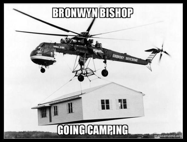 Bronwyn Bishop going camping