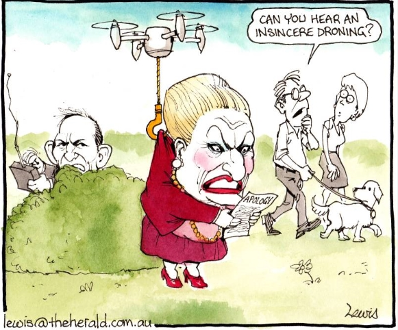 Insincere Droning. Cartoon by Peter Lewis